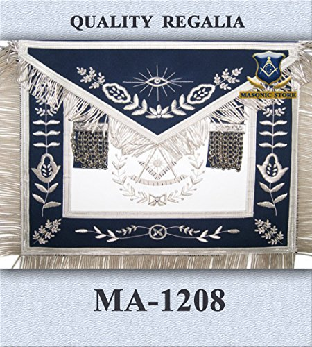 Masonic Hand Embroidery Past Master Apron Royal Blue Silver With Bullion (Masonic Past Master Apron)