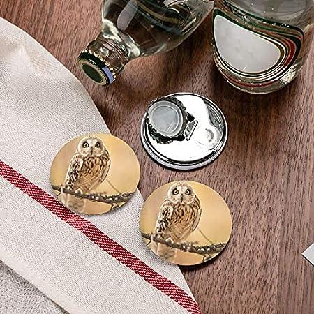 Búho de pie en el árbol Abrebotellas redondos / Imanes de nevera Sacacorchos de acero inoxidable Etiqueta magnética 2 piezas