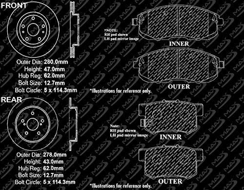 TA103643 Fits: 2007 07 Suzuki SX4 w//Rear Disc Brakes OE Series Rotors + Metallic Pads Max Brakes Front /& Rear Premium Brake Kit