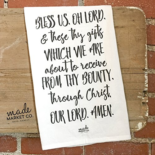 Bless Us Oh Lord Prayer Tea Towel, Gift for Her, Kitchen Linens Decor Bathroom, Best Seller, Most Popular Item by Made Market Co.
