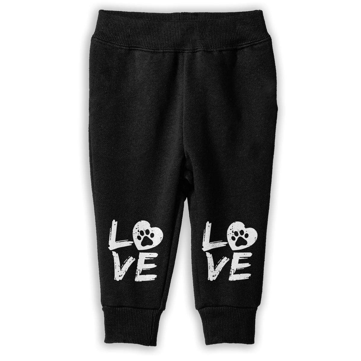 Toddler Sports Pants Love Paw Print in Heart Sweatpants