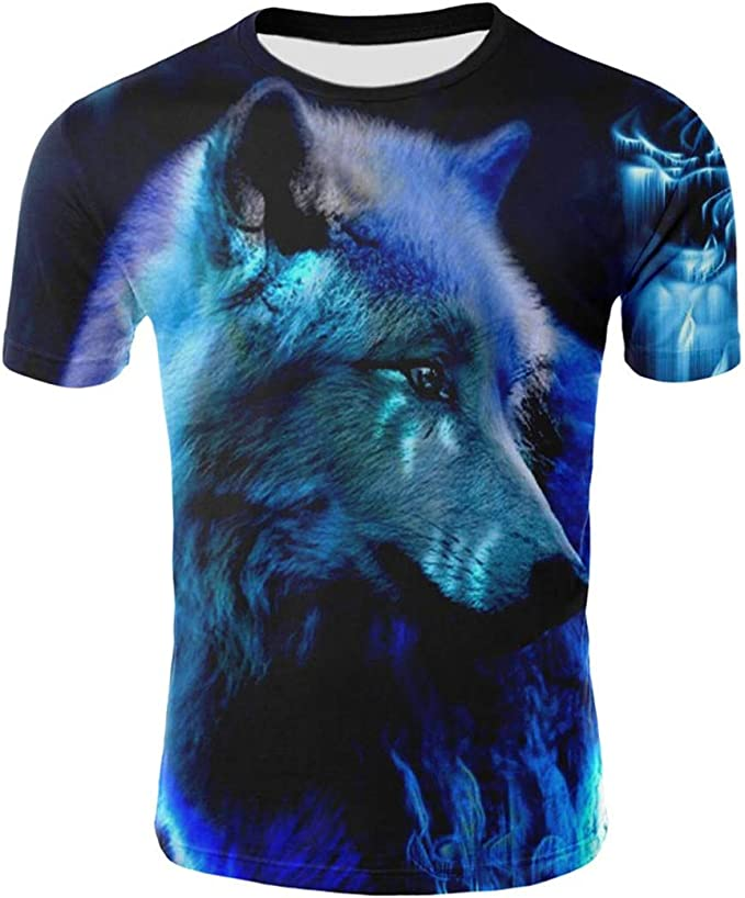 Mens Cotton T-Shirts Wolf Roar Casual 3D Printed Short Sleeve Top Tees