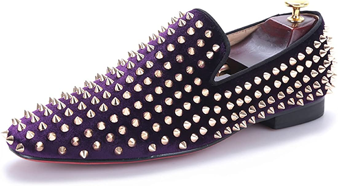 HI/&HANN Purple Velvet with Gold Rivets Men Loafers Fashion Party and Prom Loafer Shoes Slip-on Smoking Slipper