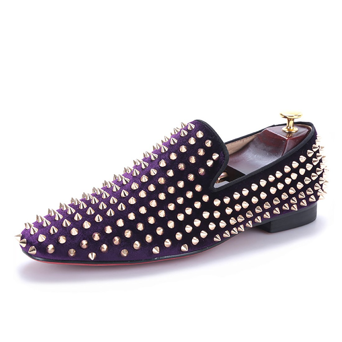 HI&HANN Purple Velvet With Gold Rivets Men Loafers Fashion Party and Prom Loafer Shoes Slip-On Smoking Slipper-12-Purple