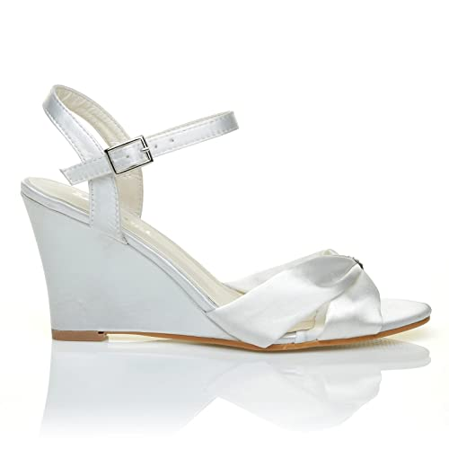 bf9f6cadc2e ANGEL White Satin Wedge High Heel Strappy Bridal Shoes  Amazon.co.uk  Shoes    Bags