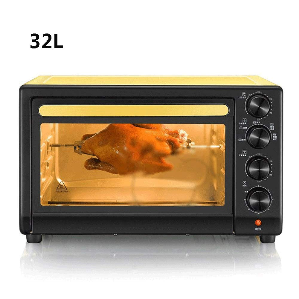 LQRYJDZ Mini 32 liters Toaster Oven with Timer-Toast Broil Settings, 1600W Hot Convection Oven,Toast, Bake,Pizza, Nonstick Interior & Brushed Stainless Steel,Includes Baking Pan,Rack and Crumb Tray by LQRYJDZ
