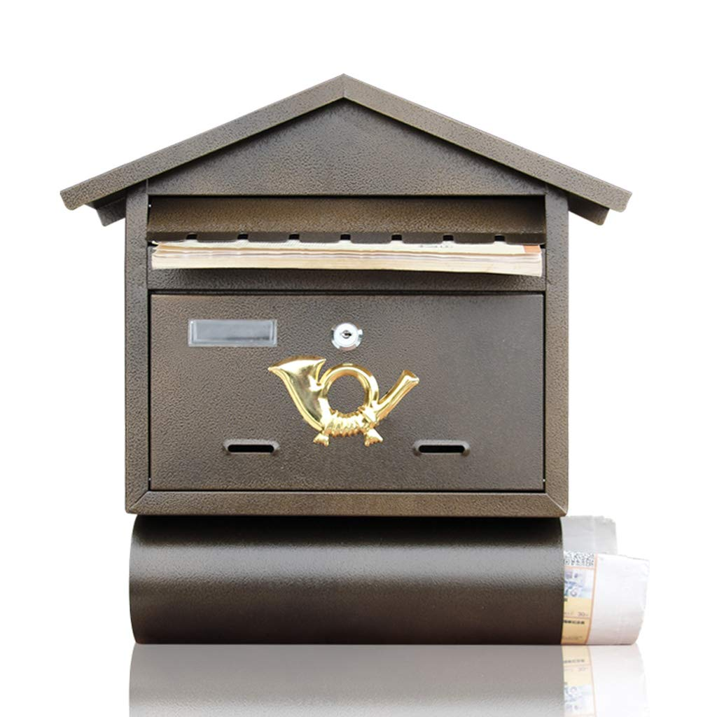 CS アイアン壁掛け郵便箱バーカフェレトロ壁ポストクリエイティブヴィラアウトドアレターボックス   B07J1L3KMS