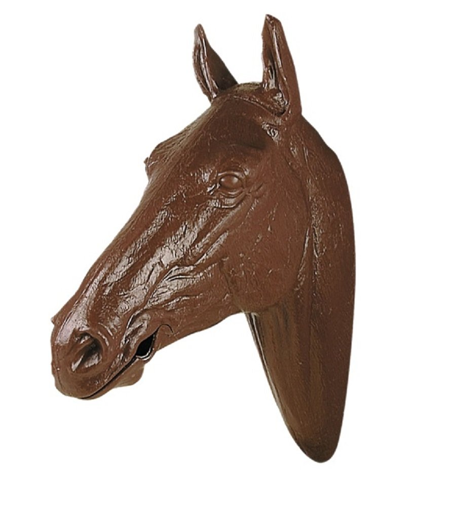 Life Sized Molded Plastic Display Horse Head Mouth Opens for Bit and Bridle Display (Brown)
