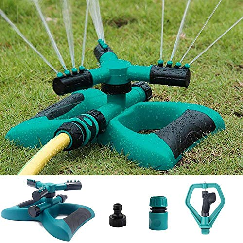 Enjoyee Impact Lawn Sprinkler, Automatic Water Sprinkler for Garden with User Manual, Rotating Adjustable Angle and Distance, Bonus 1 Rotary Sprinkler Head, Waters up to 40′ Diameter (Green)