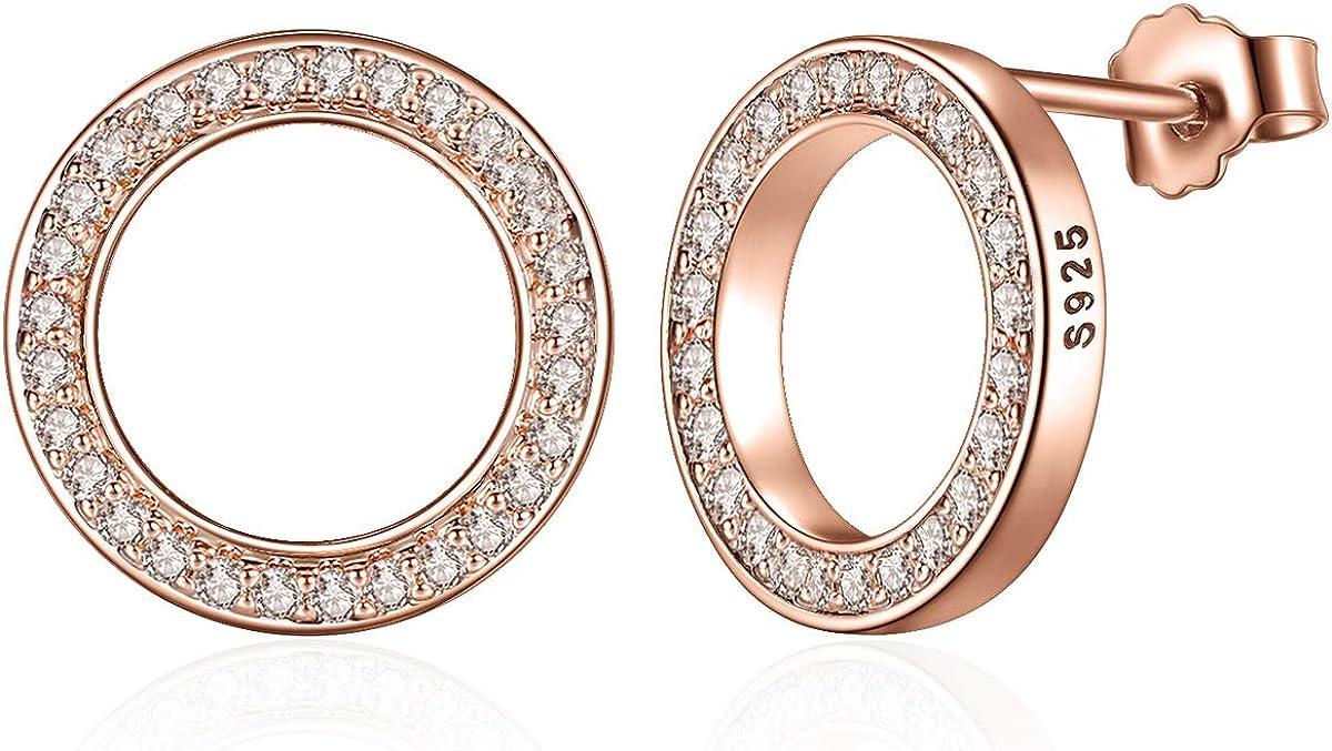 Presentski oro rosa Pendientes,Plata de Ley 925 Zirconia Cubica Pendientes de aro Mujer