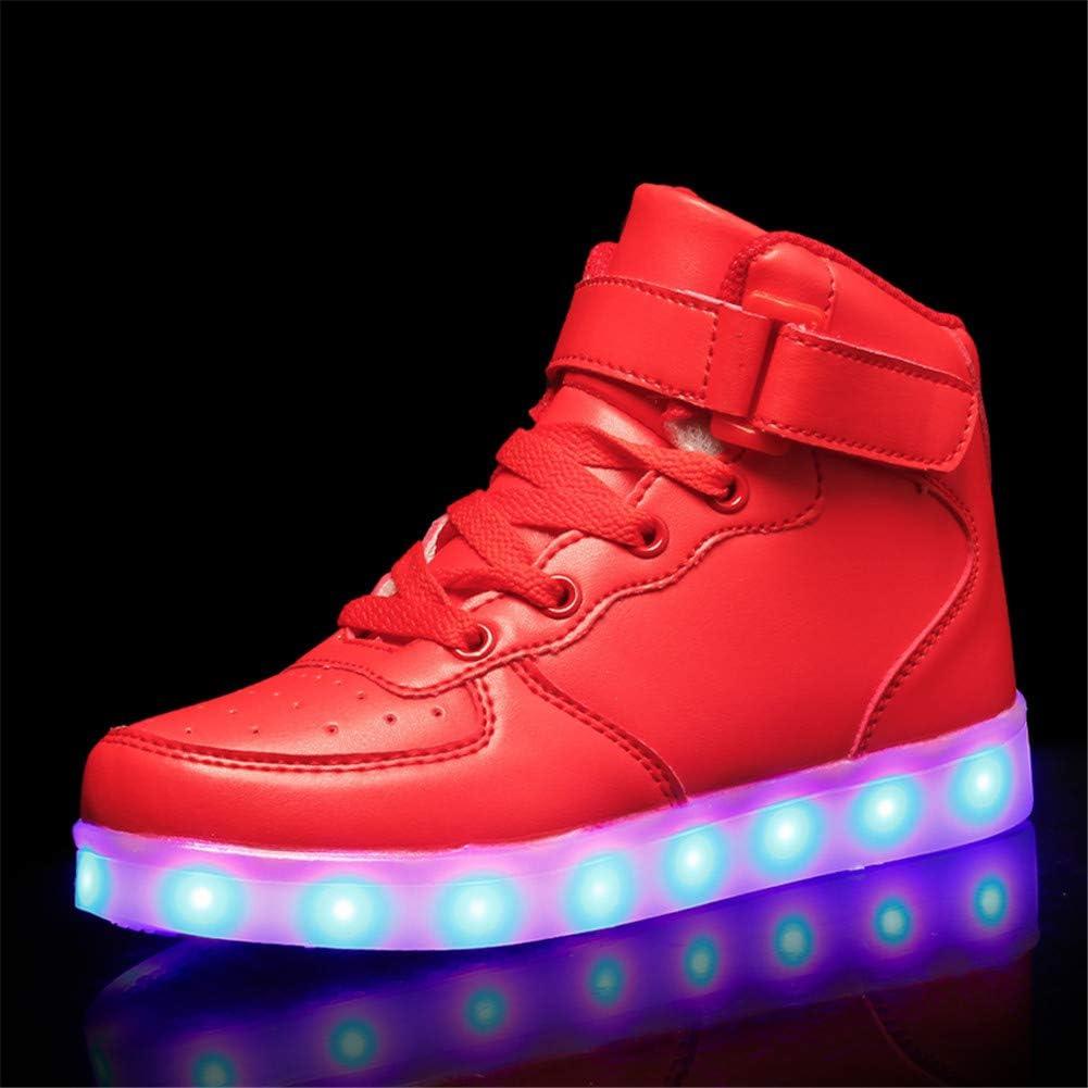 Kimily Unisex Enfants Gar/çon Fille LED Lumineuse Dessus 7 Couleurs Clignotants USB Rechargeable Mutilsport Chaussures Securit/é Mode Haut Shoes Sneaker