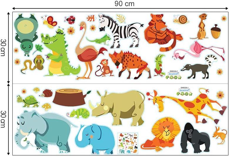 decalmile Pegatinas de Pared Animales de la Jungla y /Árbol Vinilos Decorativos Mono Elefante Jirafa Palmera Adhesivos Pared Habitaci/ón Infantiles Ni/ños Beb/és Dormitorio