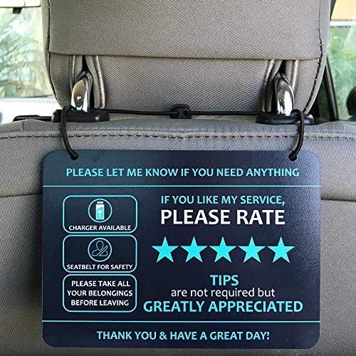 "Nebudo Compatible with Lyft Uber (2-Pack) Tips Rating Appreciated Rideshare Accessories - 7"" x 5"" - Interior Acrylic Headrest Sign - Rate Me Tip No Smoking for 5 Star Rides for Ride-share Drivers"
