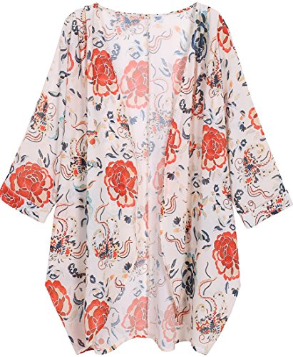 (OLRAIN Women's Floral Print Sheer Chiffon Loose Kimono Cardigan Capes (Small, Red-1))