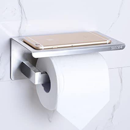 Toilet Paper Holder With Phone Shelf Stainless Steel Bathroom Tissue Paper  Roll Holder With Mobile Cell Phone Storage Rack Brushed Nickel MARMOLUX ACC  ...