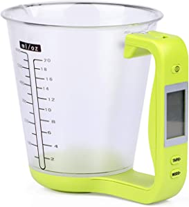 KT THERMO Digital Measuring Cup with Scales Grams and Ounces - Measurement cup scale perfect for baking kitchen food milk weighting (Green)
