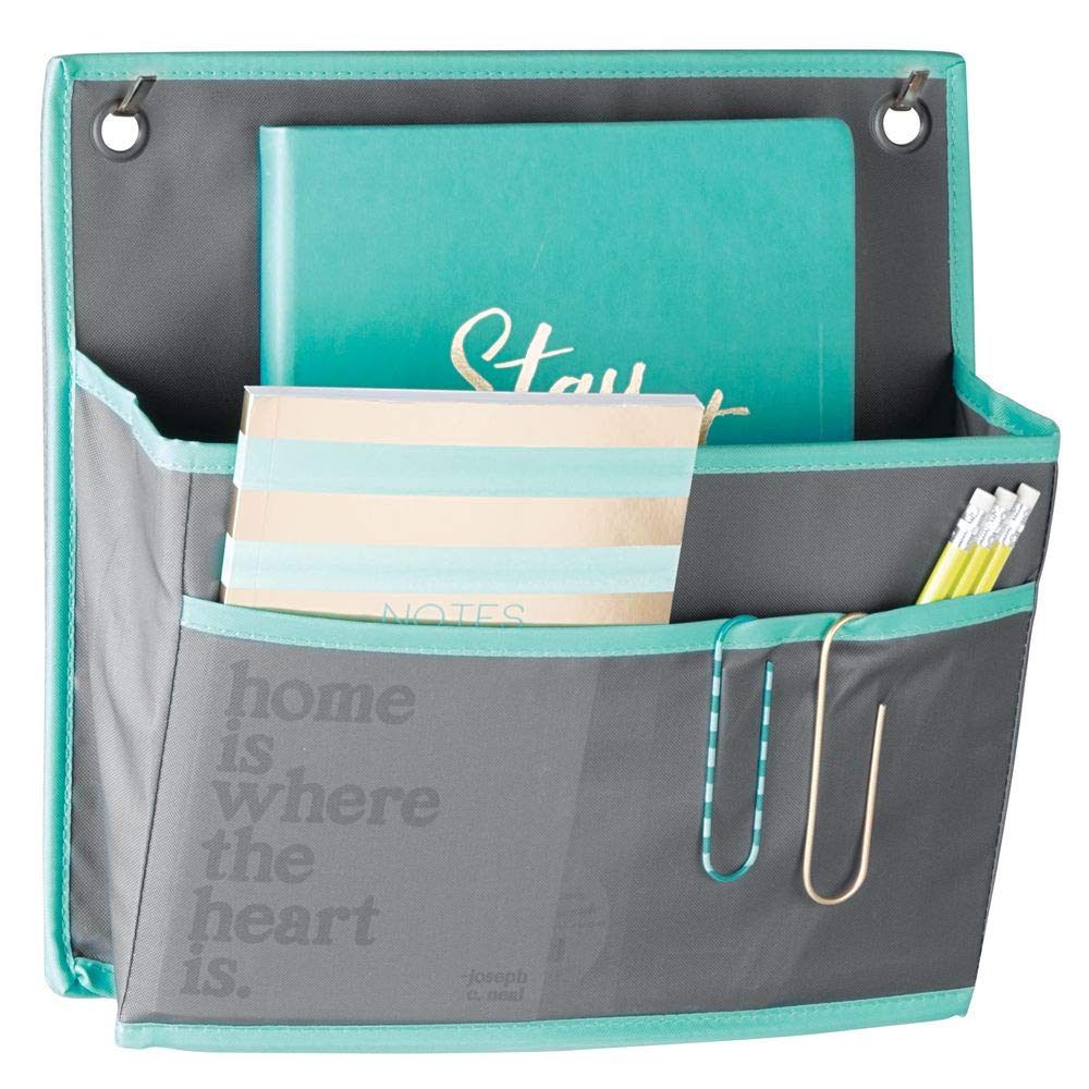 mDesign Soft Fabric Hanging Home Office, Cubicle Storage Organizer, 2 Large Pocket Organization - Holds Office Supplies, File Folder, Planner, Journal - Hang Over Cubicle Wall or Door - Dark Gray/Teal