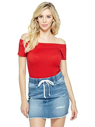 2ce370bc GUESS Factory Women's Nora Off-The-Shoulder Tight Short-Sleeve ...
