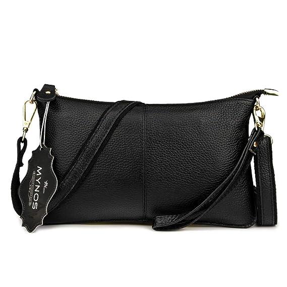 7cdac4f96 Mynos Genuine Leather Zipper Vintage Small Women Crossbody Purse Bag (Black)