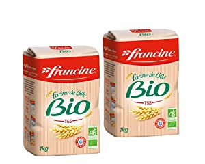 Francine Farine de Ble Bio - French All Purpose Organic Wheat Flour - 2.2 lbs (Pack of 2)