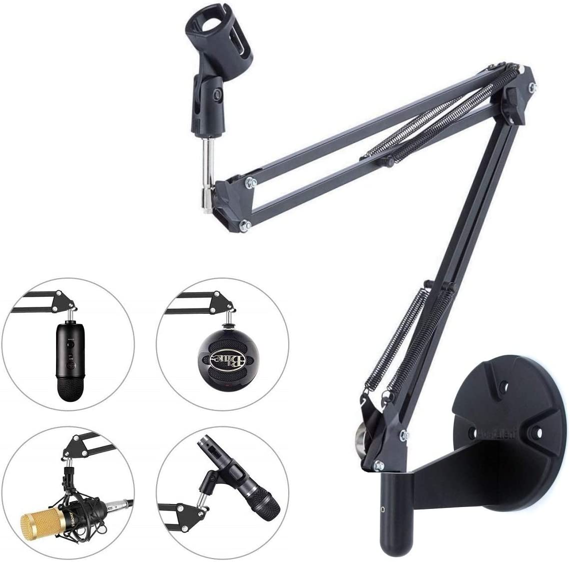 Microphone Wall Mount, Suspension Mic Stand Clip for Blue Yeti Snowball,Radio Broadcasting, Voice-Over Sound, Stages,TV Stations,Youtube