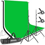Neewer 6.5x9.8ft/2x3M Background Stand Backdrop Support System with 6x9ft/1.8x2.8M Muslin Backdrop (White, Black, Green…
