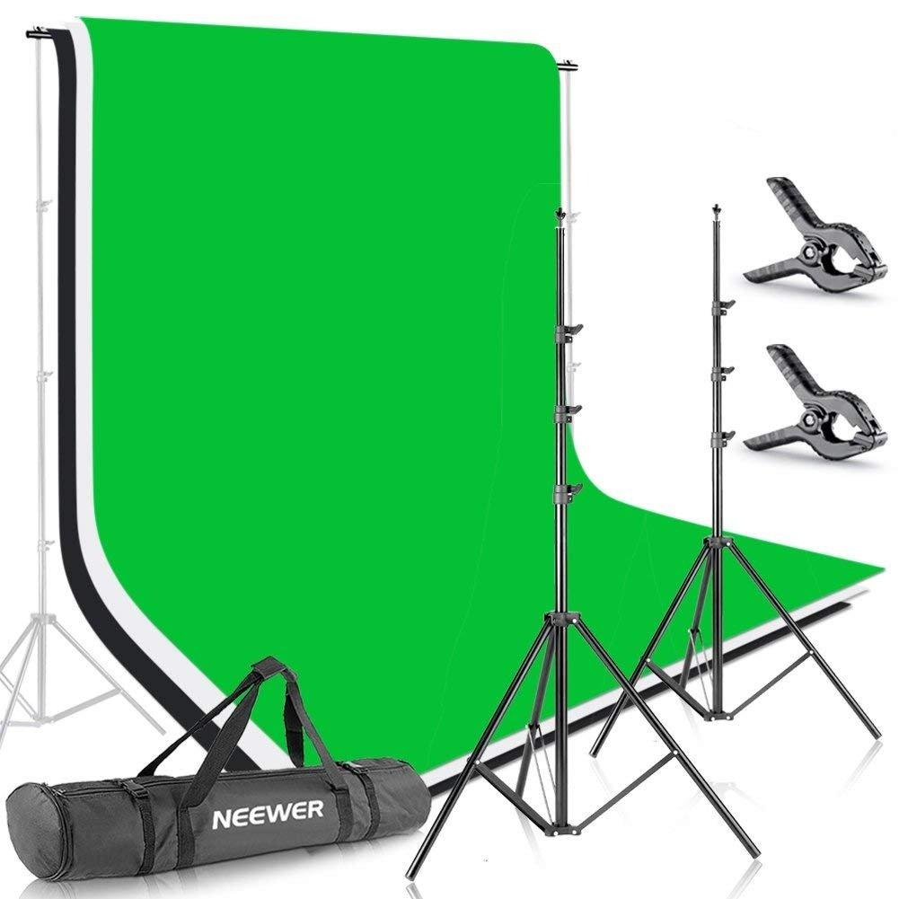 Neewer 2x3M Sistema de Soporte de Fondo con Tel/ón de Fondo de Muselina de 1.8x2.8M Abrazaderas y Bolsa de Transporte para Retrato,Productos Fotogr/áfico y Grabaci/ón de Video Blanco, Negro, Verde