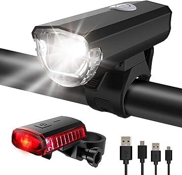 Led Fahrradlicht Set Fahradlampe USB Aufladen Fahrradbeleuchtung Scheinwerfer DE