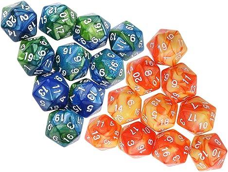 FLAMEER 20x Dados D20 Azul Naranja para Juego de Mesa de Tablero Game Prop: Amazon.es: Juguetes y juegos