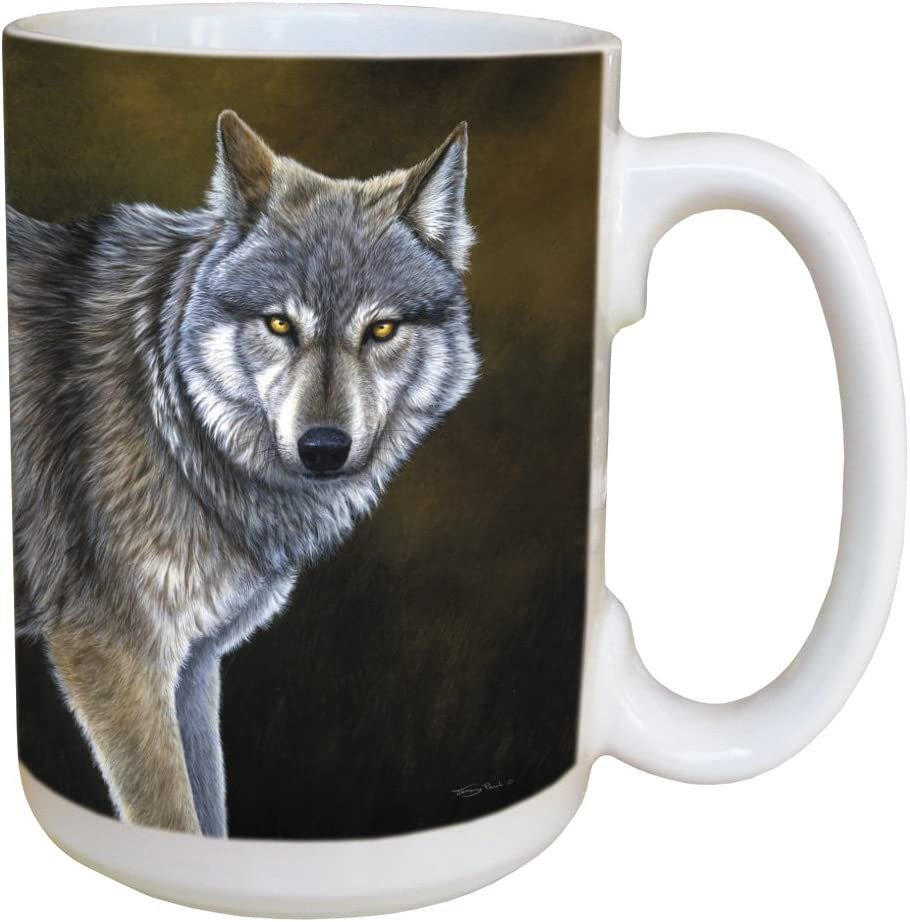 Classic Wolf Coffee Mug Large 15 Ounce Ceramic Cup Full Handle Jeremy Paul Wolves Theme Gift For Animal Lovers Tree Free Greetings Kitchen Dining