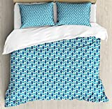 Ikat Queen Size Duvet Cover Set by Ambesonne, Nautical Inspired Color Palette Rhombus Arrow Shapes Africa Middle East Culture, Decorative 3 Piece Bedding Set with 2 Pillow Shams, Blue Turquoise