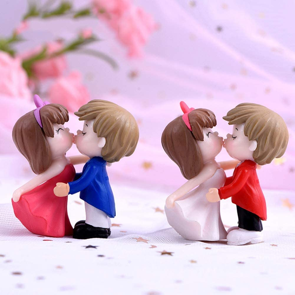 Miniature Figurine,YESZ Dollhouse Micro Landscape Ornament,Resin Kissing Bride Groom Model Figurine Miniature Wedding Scenery Ornaments Blue Pink