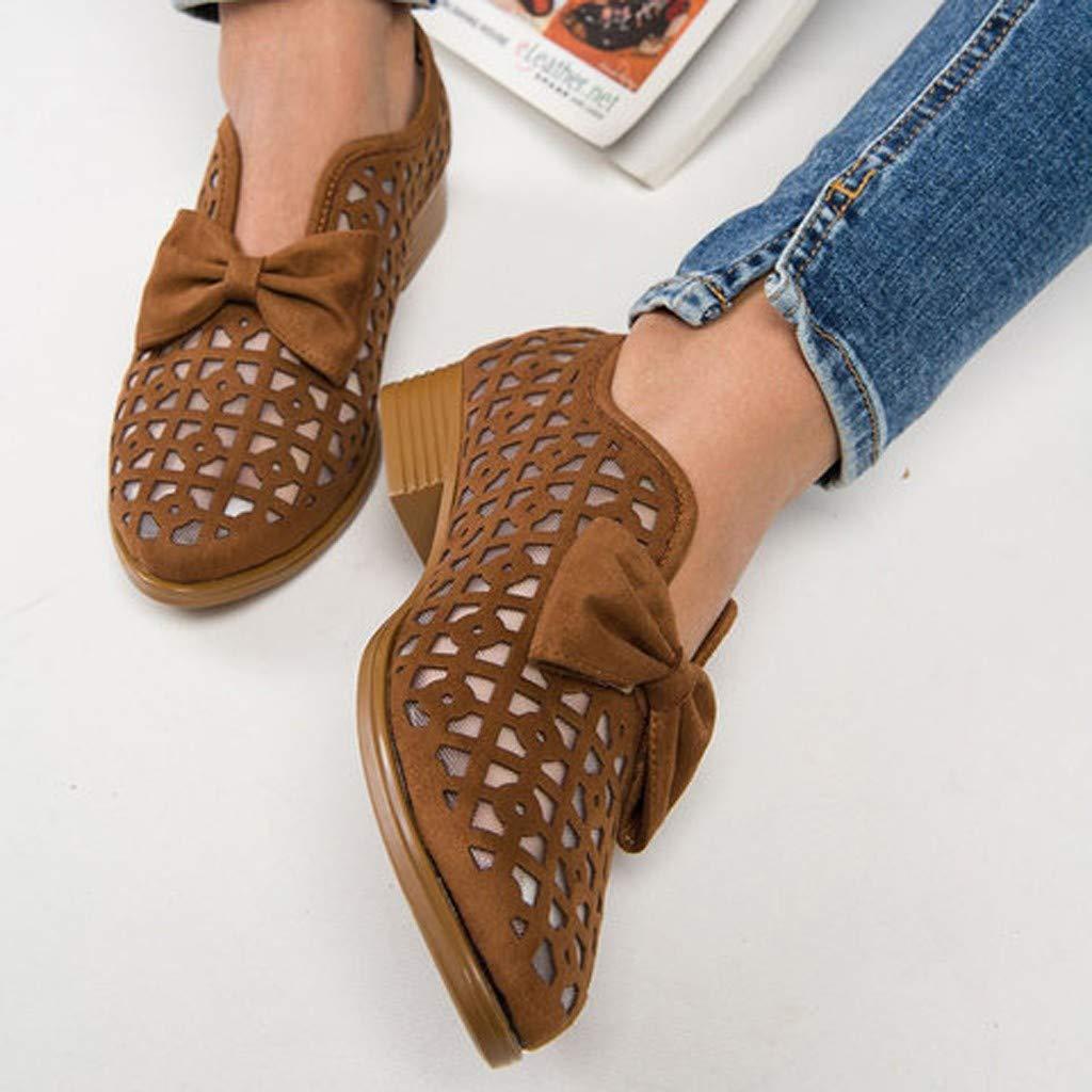 Chaussures Romaines Femme Creux Respirant Sandales Chaussures Basses Escarpins Femmes Style R/éTro Derbies Mocassins Loafers Escarpins(Rouge,35EU)