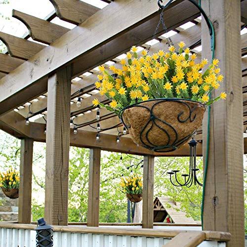 (XYXCMOR 4pcs Artificial Fake Flowers Faux Yellow Aloe Greenery Bushes Plastic Shrubs Hanging Planter Decor Wedding Center Potted Garden Patio House Verandah Windowsill Decoration)
