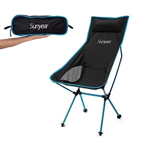 Superb Amazon.com : Sunyear Innovative Foldable Camp Chair, Stuck Slip Proof Feet,  High Back, Headrest, Super Comfort Ultra Light Heavy Duty, Perfect For The  ...