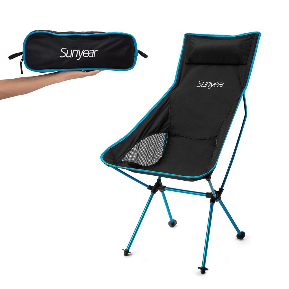 Sunyear Innovative Foldable Camp Chair, Stuck-slip-proof Feet, High Back, Headrest, Super Comfort Ultra light Heavy Duty, Perfect for the Backpacking/Hiking/Fishing/Beach/Sport (Blue)