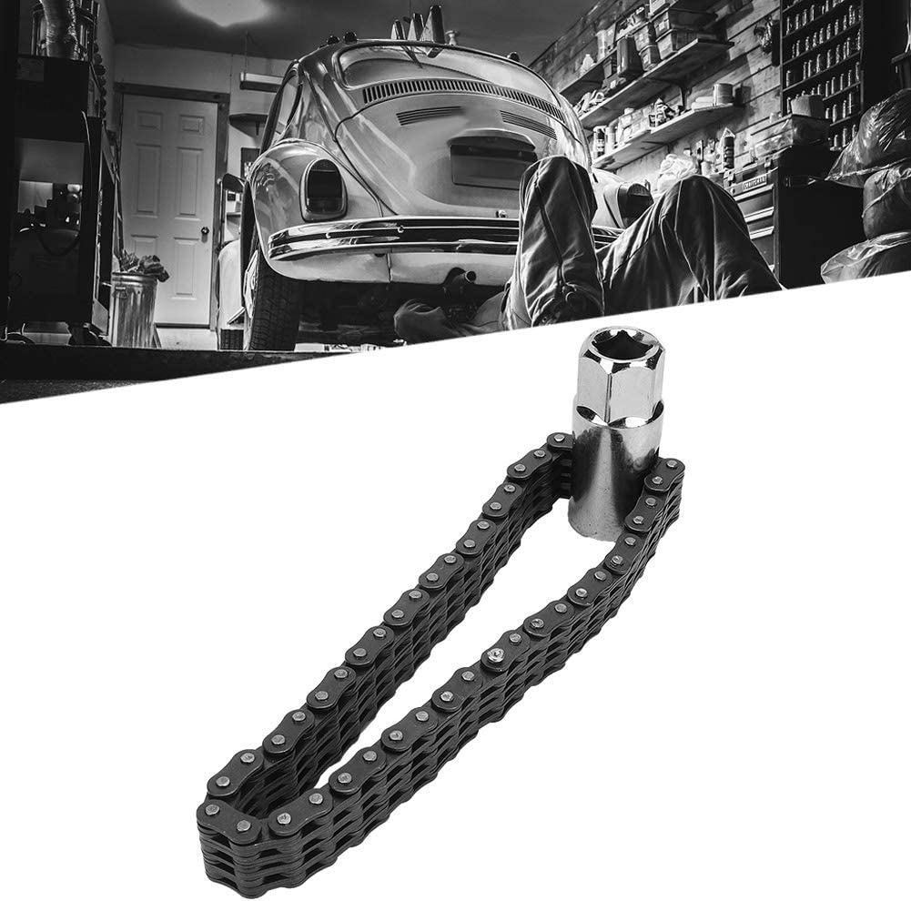 Oil Filter Spanner 14cm Heavy Duty Chain Type Oil Filter Wrench Removal Universal Auto Car Repair Tools Pupilash Chain Wrench Oil Filter