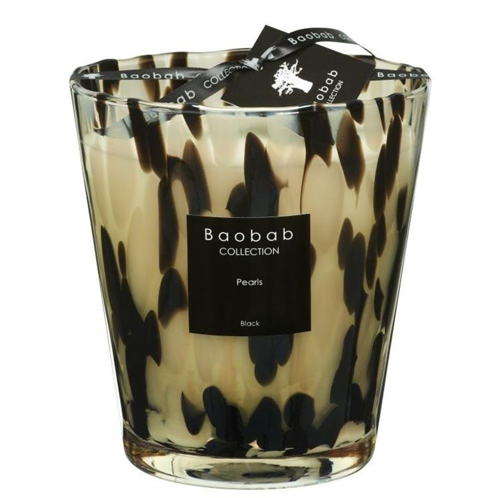 Baobab MAX16PB Pearls schwarz Kerze, Kerzenwachs, 16 x 10 x 16 cm
