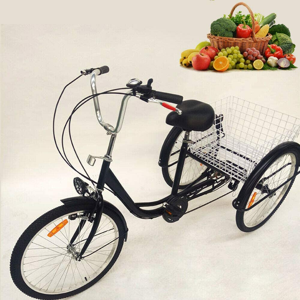 SENDERPICK 24 Pulgadas 6 velocidades Adulto 3 Ruedas Triciclo, Adulto Bicicleta Pedal de Ciclismo con Cesta Blanca para Deportes al Aire Libre Compras Ajustable