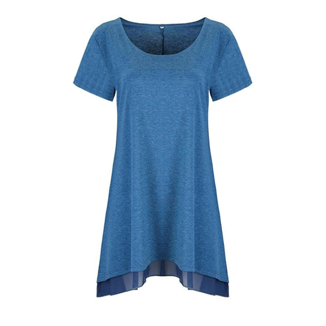 Amazon.com: T Shirts, Womens Short Sleeve Solid Lace Casual Loose Long Blouse Tops FORUU: Arts, Crafts & Sewing