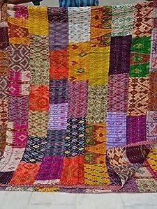 "Patola Silk Patch Work Kantha Quilt , Kantha Blanket Bedspread, Patch Kantha Throw, King Kantha, Kantha Rallies Indian Sari Quilt, Size 90"" X 108"" 001 by Tribal Asian Textiles"