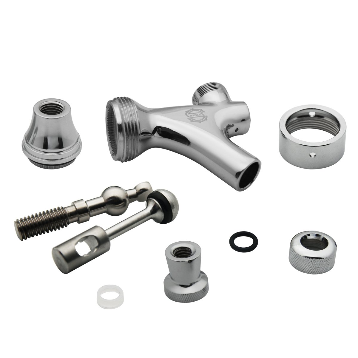 Stainless Steel Stem Beer keg Tap Faucet with Ball Lock disconnect chromed body PERA