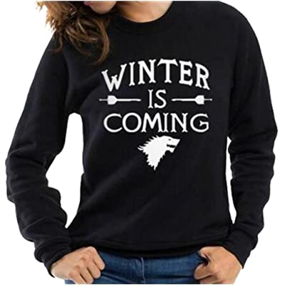 Women Long Sleeve WINTER IS COMING Printing Cotton Round Neck Sweatshirt Tops