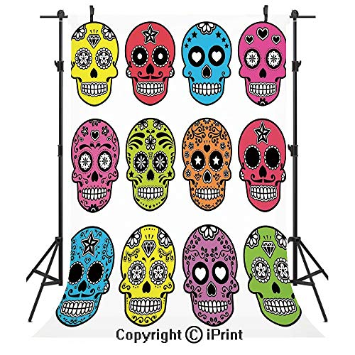 Skull Photography Backdrops,Ornate Colorful Traditional Mexian Halloween Skull
