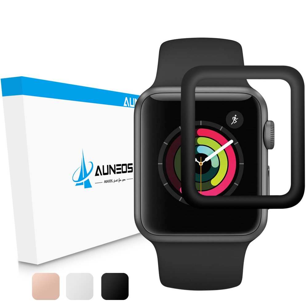 Screen Protector for Apple Watch [Exclusiveto Series 3], AUNEOS Series 3 38MM Protector for Apple Watch [Self-Absorption] Tempered Glass Cover for Apple Watch Nike+, Hermès, Edition (Black, 38mm)