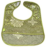 I Frogee Brocade Baby Bibs in Olive Green Fortune Flower Print