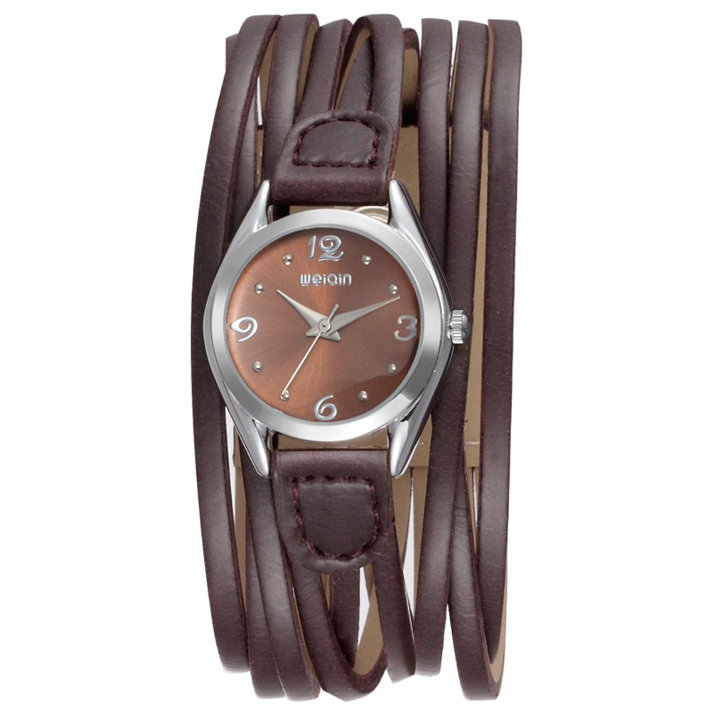 Women Leather Wrap Around Quartz Watch Lady Vintage Bracelet Watches (Brown)