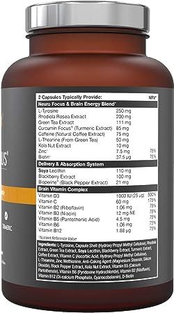 Cerebro Vitaminas, Suplemento Natural Nootrópico - Concentración Enfoque Memoria: Amazon.es: Salud y cuidado personal