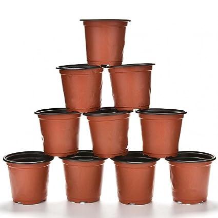 10 pcs plástico redondo flores maceta decorativa jardín maceta contenedor con orificio de drenaje planta flores