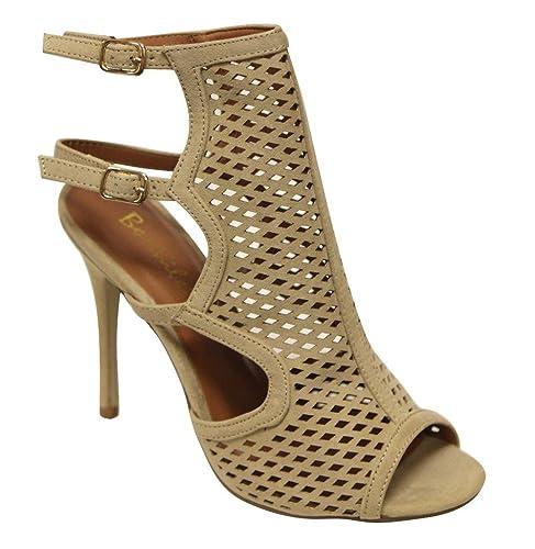 26d61814252 Bonnibel Marisa-4 Women s peep Toe Sexy mesh Slingback Adjustable Double Ankle  Strap Nubuck Heeled